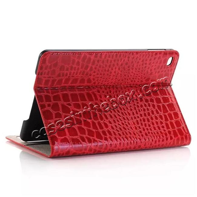 wholesale Crocodile Pattern PU Leather Wallet Stand Case for iPad Mini 4 - Red