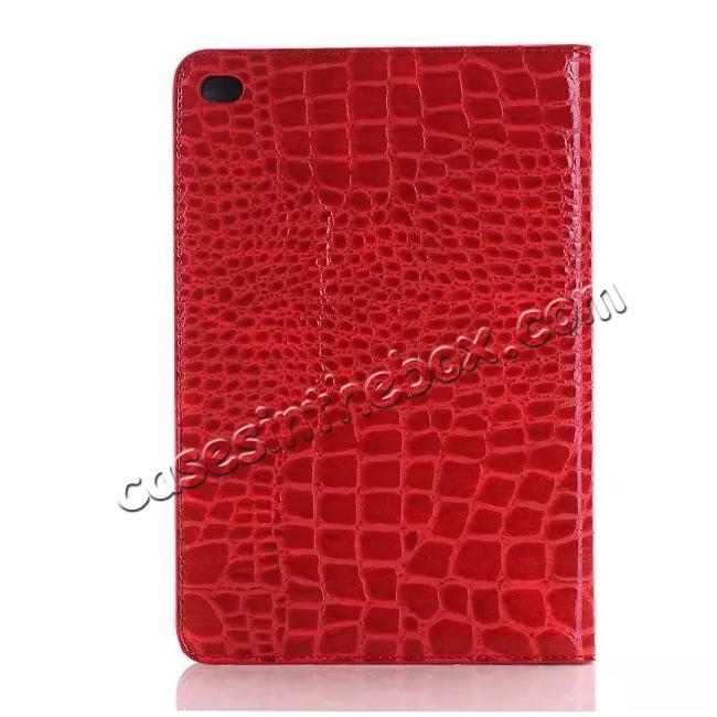 top quality Crocodile Pattern PU Leather Wallet Stand Case for iPad Mini 4 - Red