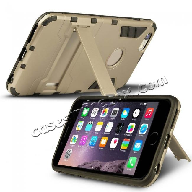 discount Hybrid Dual Layer Armor Shockproof Case with Stand For iPhone 6 4.7inch - Gold