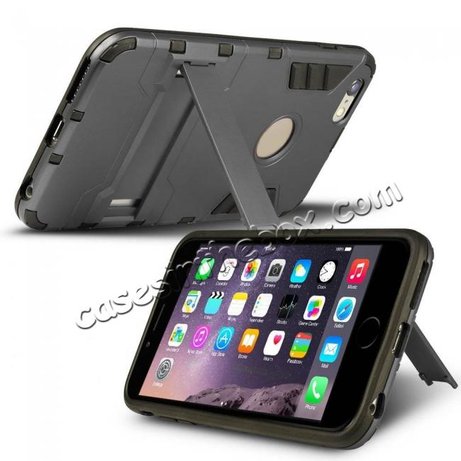discount Hybrid Dual Layer Armor Shockproof Case with Stand For iPhone 6 4.7inch - Gray