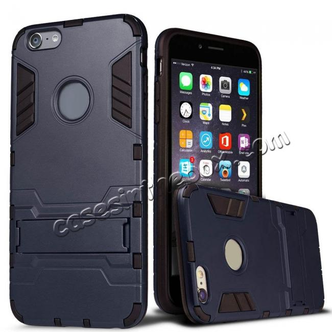wholesale Hybrid Dual Layer Armor Shockproof Case with Stand For iPhone 6 4.7inch - Navy blue