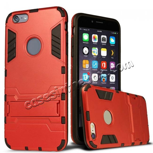 wholesale Hybrid Dual Layer Armor Shockproof Case with Stand For iPhone 6 4.7inch - Red