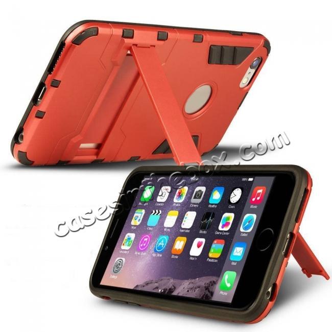 discount Hybrid Dual Layer Armor Shockproof Case with Stand For iPhone 6 4.7inch - Red