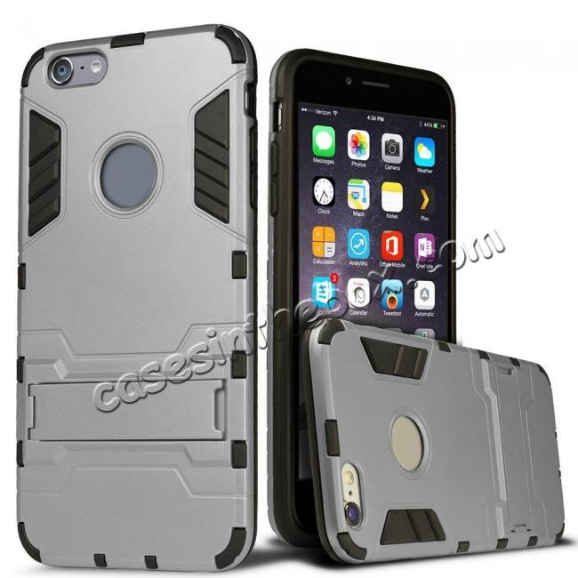 wholesale Hybrid Dual Layer Armor Shockproof Case with Stand For iPhone 6 4.7inch - Silver
