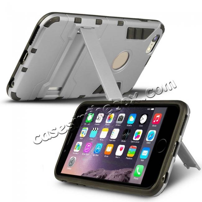 discount Hybrid Dual Layer Armor Shockproof Case with Stand For iPhone 6 4.7inch - Silver