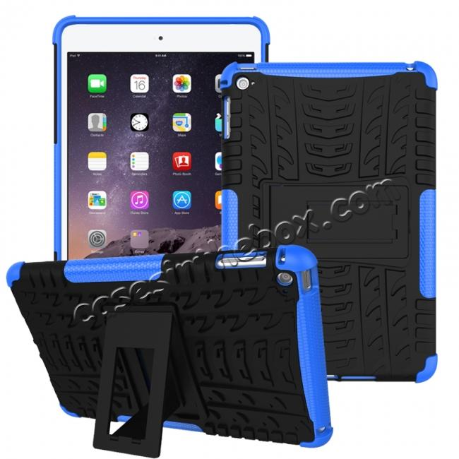 wholesale Hyun Pattern Dual Layer Hybrid ShockProof Case Cover For iPad mini 4 - Blue