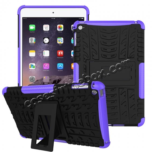 wholesale Hyun Pattern Dual Layer Hybrid ShockProof Case Cover For iPad mini 4 - Purple