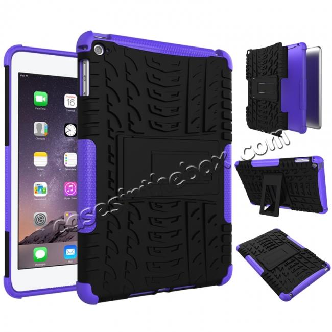 discount Hyun Pattern Dual Layer Hybrid ShockProof Case Cover For iPad mini 4 - Purple