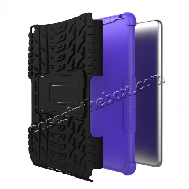 best price Hyun Pattern Dual Layer Hybrid ShockProof Case Cover For iPad mini 4 - Purple