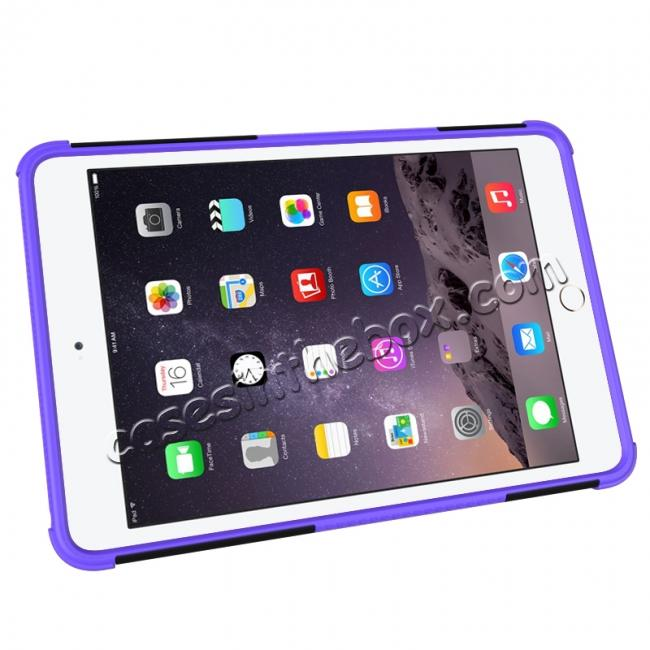 cheap Hyun Pattern Dual Layer Hybrid ShockProof Case Cover For iPad mini 4 - Purple