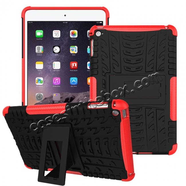 wholesale Hyun Pattern Dual Layer Hybrid ShockProof Case Cover For iPad mini 4 - Red