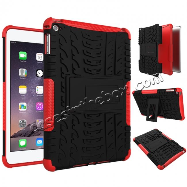 discount Hyun Pattern Dual Layer Hybrid ShockProof Case Cover For iPad mini 4 - Red