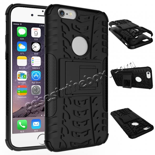 wholesale Hyun Pattern Dual Layer Hybrid Shockproof Case Cover for iPhone 6s - Black