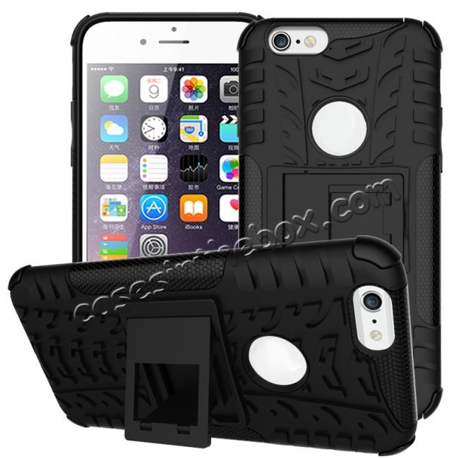 discount Hyun Pattern Dual Layer Hybrid Shockproof Case Cover for iPhone 6s - Black