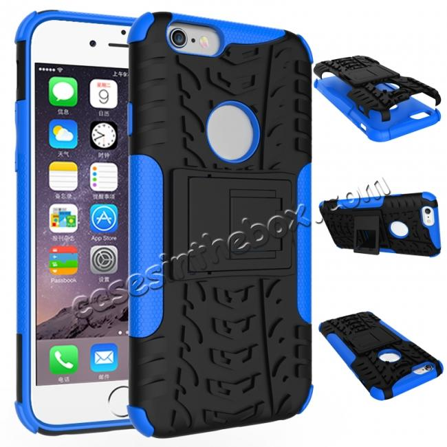 wholesale Hyun Pattern Dual Layer Hybrid Shockproof Case Cover for iPhone 6s - Blue