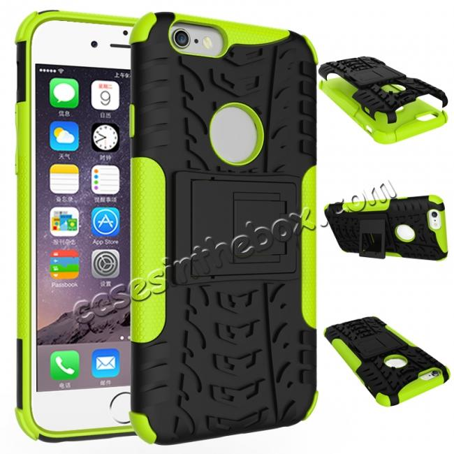 wholesale Hyun Pattern Dual Layer Hybrid Shockproof Case Cover for iPhone 6s - Green