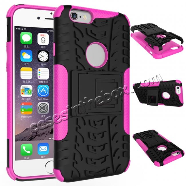 wholesale Hyun Pattern Dual Layer Hybrid Shockproof Case Cover for iPhone 6s - Hot pink