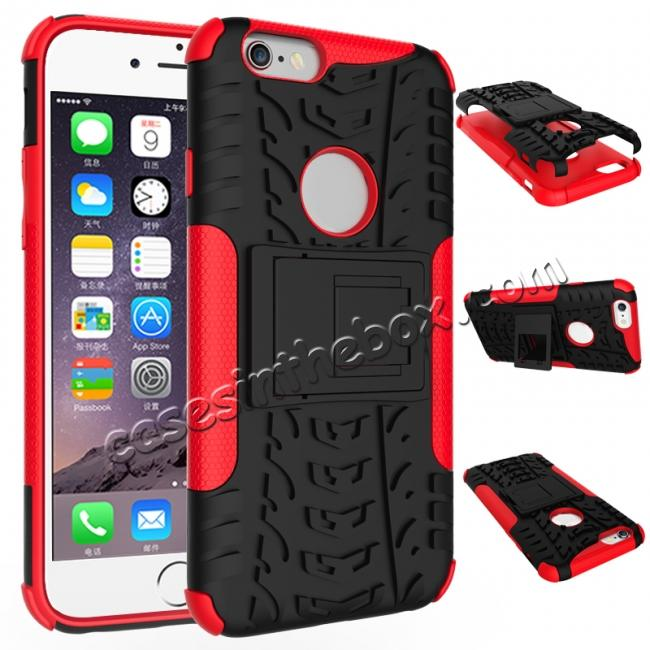 wholesale Hyun Pattern Dual Layer Hybrid Shockproof Case Cover for iPhone 6s - Red