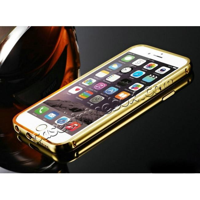 cheap Luxury Aluminum Metal Bumper with Mirror Acrylic Back Cover for iPhone 6S/6 4.7inch - Gold