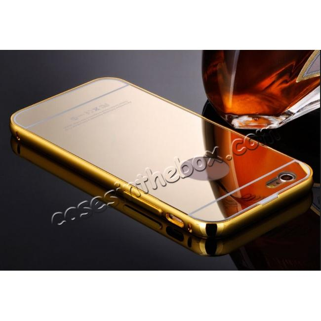 discount Luxury Aluminum Metal Bumper with Mirror Acrylic Back Cover for iPhone 6S/6 4.7inch - Gold