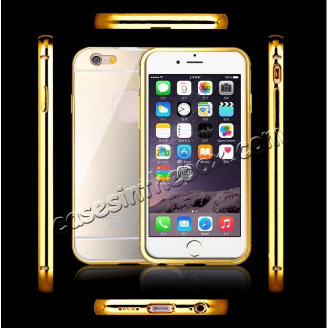 top quality Luxury Aluminum Metal Bumper with Mirror Acrylic Back Cover for iPhone 6S/6 4.7inch - Gold