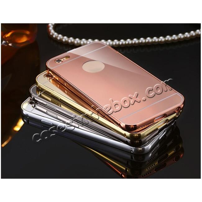 low price Luxury Aluminum Metal Bumper with Mirror Acrylic Back Cover for iPhone 6S/6 4.7inch - Gold