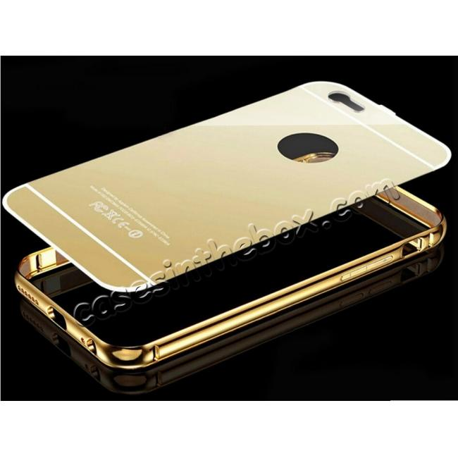 best price Luxury Aluminum Metal Bumper with Mirror Acrylic Back Cover for iPhone 6S/6 4.7inch - Gold