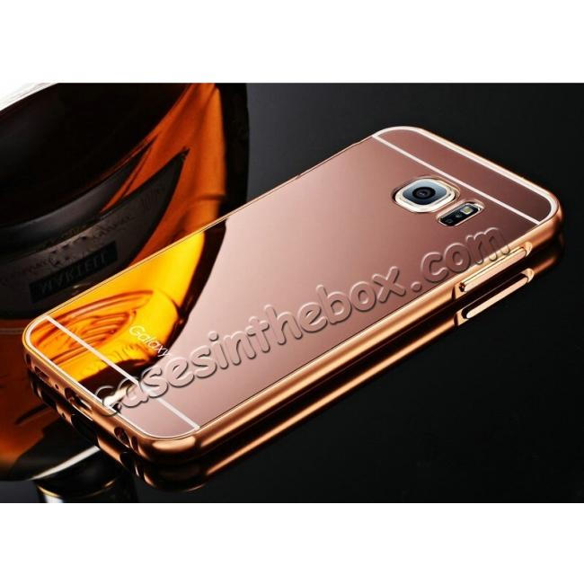 wholesale Luxury Aluminum Metal Bumper with Mirror Acrylic Back Cover for Samsung Galaxy S6 Edge - Rose gold