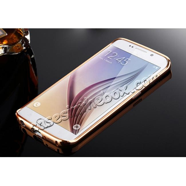 discount Luxury Aluminum Metal Bumper with Mirror Acrylic Back Cover for Samsung Galaxy S6 Edge - Rose gold