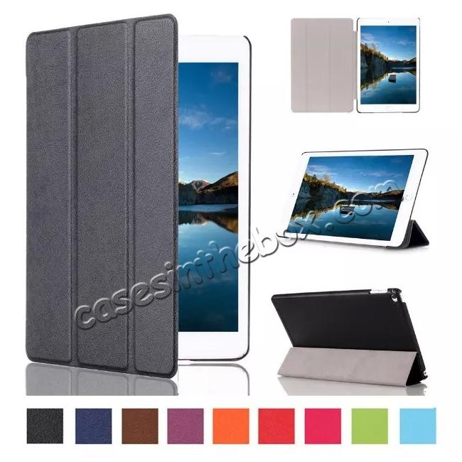 wholesale Ultra thin Smart 3-Folding Stand Leather Case For iPad mini 4 - Black