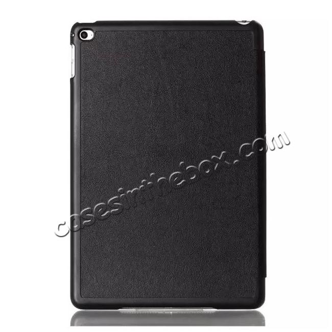 cheap Ultra thin Smart 3-Folding Stand Leather Case For iPad mini 4 - Black