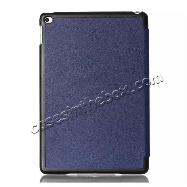 cheap Ultra thin Smart 3-Folding Stand Leather Case For iPad mini 4 - Dark blue