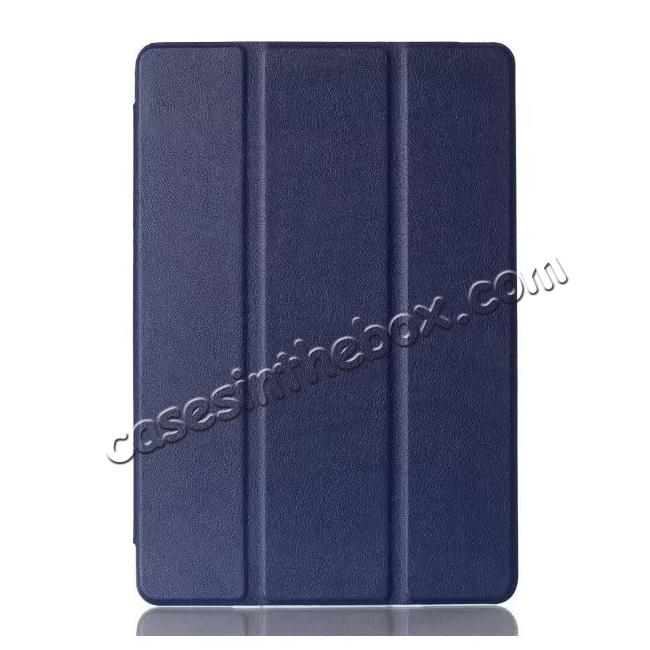 discount Ultra thin Smart 3-Folding Stand Leather Case For iPad mini 4 - Dark blue