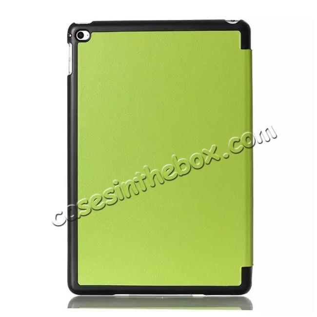 cheap Ultra thin Smart 3-Folding Stand Leather Case For iPad mini 4 - Green