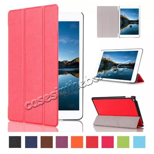 wholesale Ultra thin Smart 3-Folding Stand Leather Case For iPad mini 4 - Red