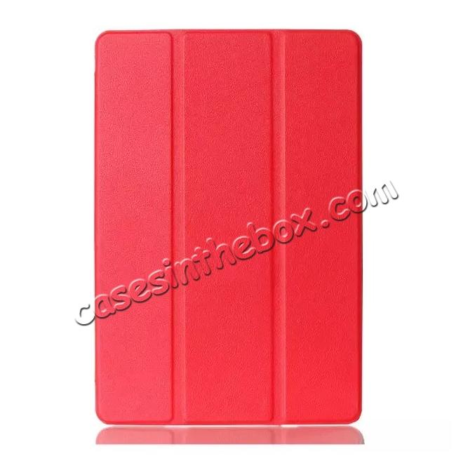 discount Ultra thin Smart 3-Folding Stand Leather Case For iPad mini 4 - Red