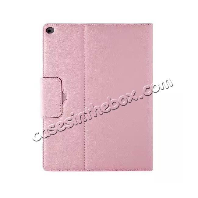 low price Detachable Wireless Bluetooth Keyboard Stand Leather Case For iPad Pro 12.9 Inch - Pink