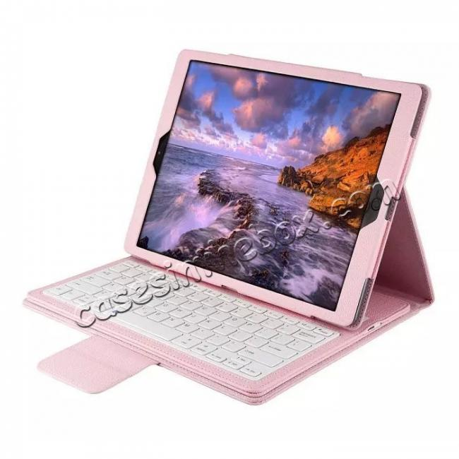 wholesale Detachable Wireless Bluetooth Keyboard Stand Leather Case For iPad Pro 12.9 Inch - Pink