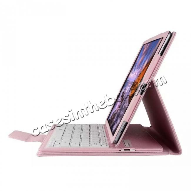 discount Detachable Wireless Bluetooth Keyboard Stand Leather Case For iPad Pro 12.9 Inch - Pink