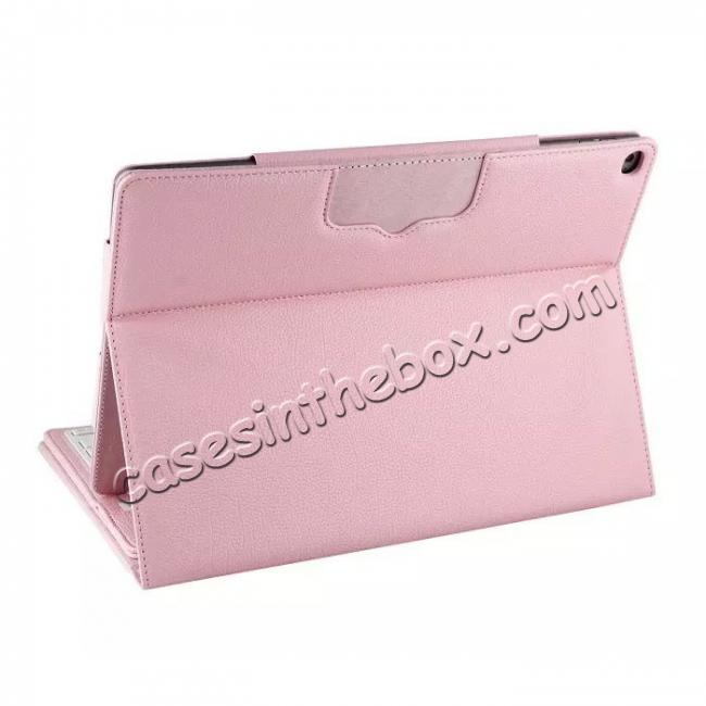 top quality Detachable Wireless Bluetooth Keyboard Stand Leather Case For iPad Pro 12.9 Inch - Pink
