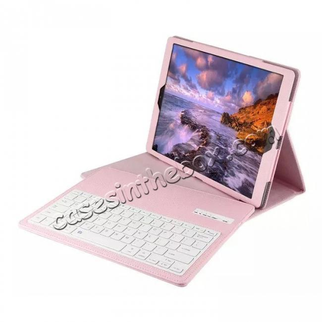 cheap Detachable Wireless Bluetooth Keyboard Stand Leather Case For iPad Pro 12.9 Inch - Pink