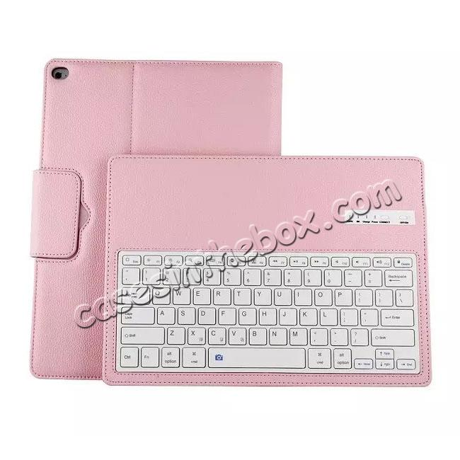 best price Detachable Wireless Bluetooth Keyboard Stand Leather Case For iPad Pro 12.9 Inch - Pink
