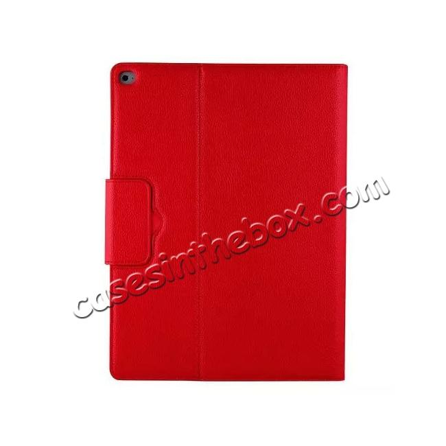 low price Detachable Wireless Bluetooth Keyboard Stand Leather Case For iPad Pro 12.9 Inch - Red
