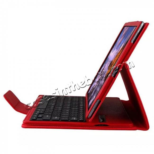 top quality Detachable Wireless Bluetooth Keyboard Stand Leather Case For iPad Pro 12.9 Inch - Red