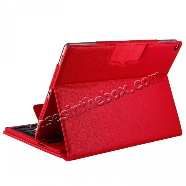 best price Detachable Wireless Bluetooth Keyboard Stand Leather Case For iPad Pro 12.9 Inch - Red