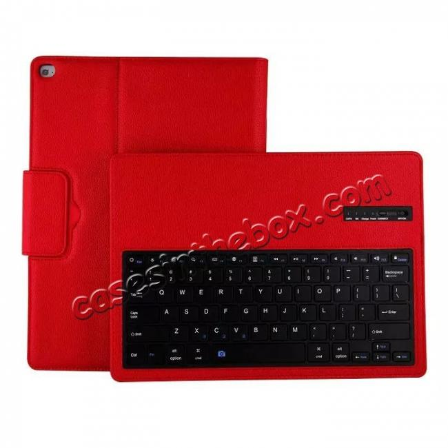 on sale Detachable Wireless Bluetooth Keyboard Stand Leather Case For iPad Pro 12.9 Inch - Red