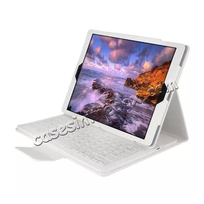 wholesale Detachable Wireless Bluetooth Keyboard Stand Leather Case For iPad Pro 12.9 Inch - White