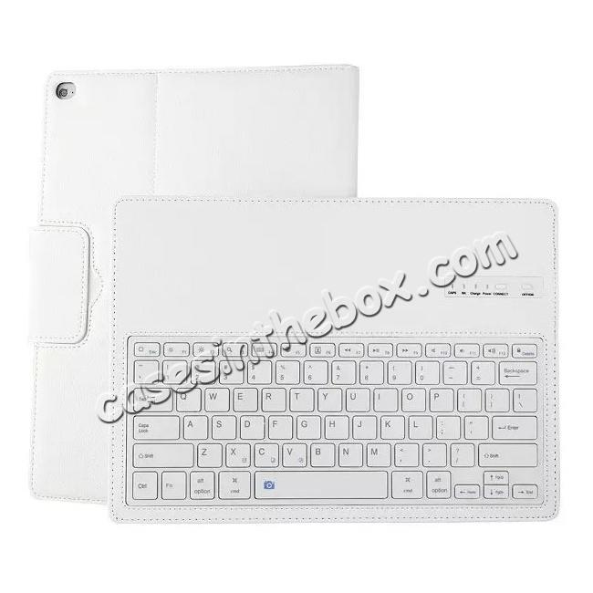 discount Detachable Wireless Bluetooth Keyboard Stand Leather Case For iPad Pro 12.9 Inch - White