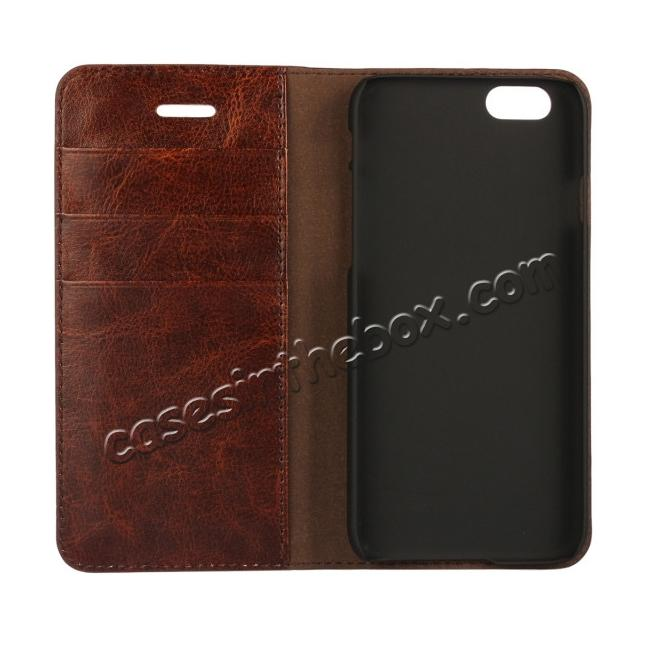 best price Luxury Genuine Crazy Horse Leather Wallet Case Cover For iPhone 6S 4.7 Inch - Black