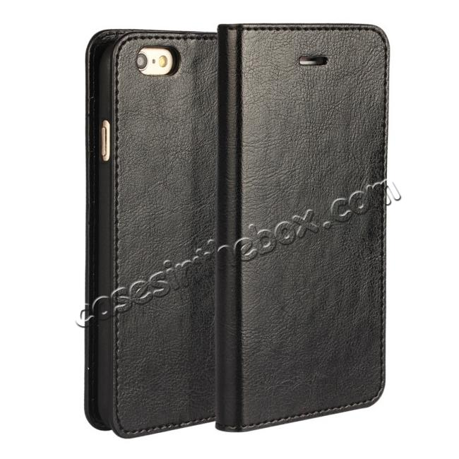 wholesale Luxury Genuine Crazy Horse Leather Wallet Case Cover For iPhone 6S 4.7 Inch - Black